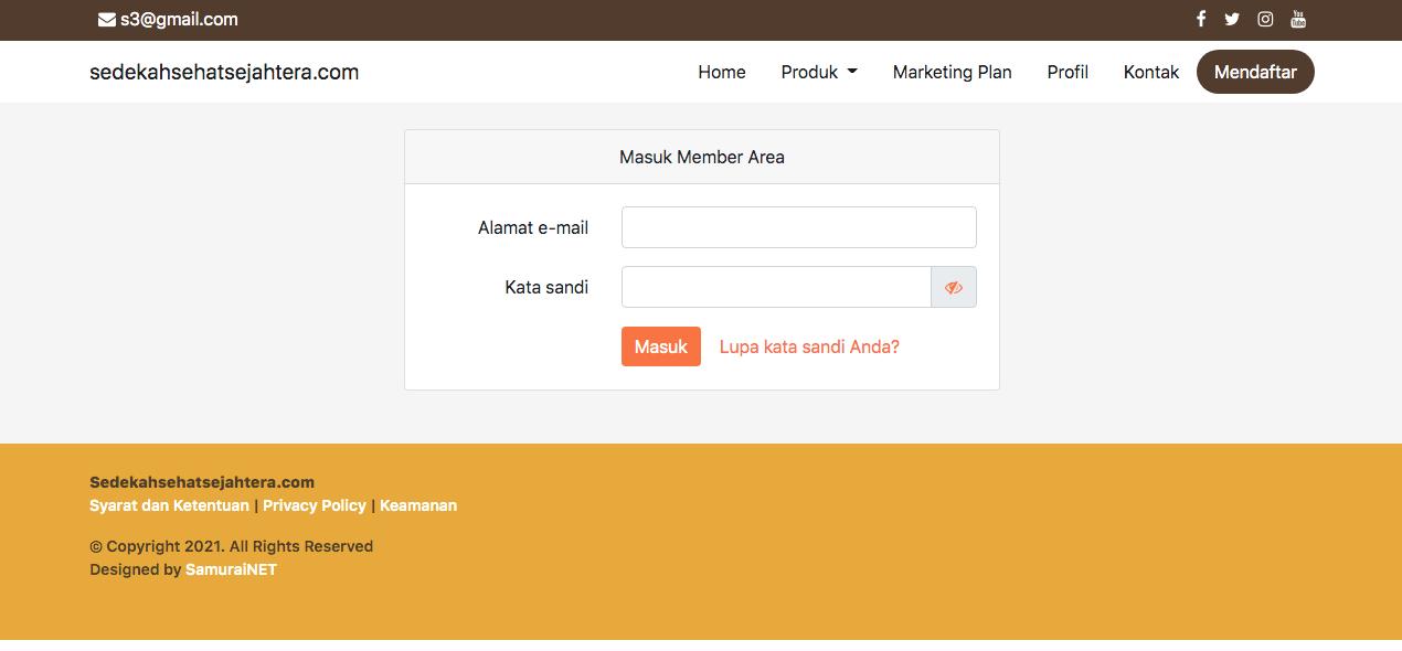 Sistem Dashboard Admin Website Sedekah Sehat Sejahtera